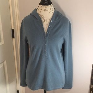 Blue Cashmere Henley Hooded Sweater By Asha